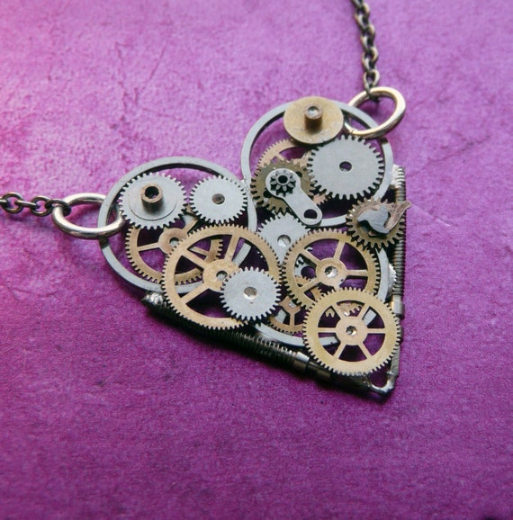 "Clockwork Heart Necklace ""Tiny Love"" Elegant Industrial Heart Steampunk Necklace Mechanical Love Choker Sculpture by A Mechanical Mind"