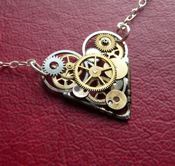 "Clockwork Heart Necklace ""Love Robotic"" Mother's Day Industrial Heart Steampunk Necklace Love Choker Sculpture by A Mechanical Mind"