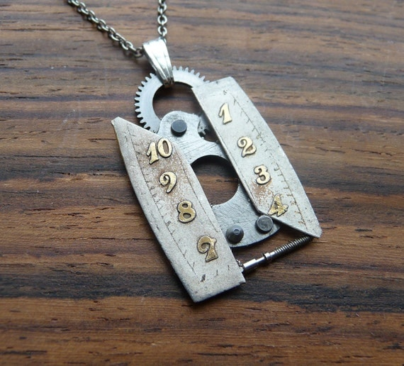 """Watch Face Pendant """"Lost Time"""" Deconstructed Reconstructed Watch Parts Necklace Recycled Upcycled Gear Art Steampunk by A Mechanical Mind"""