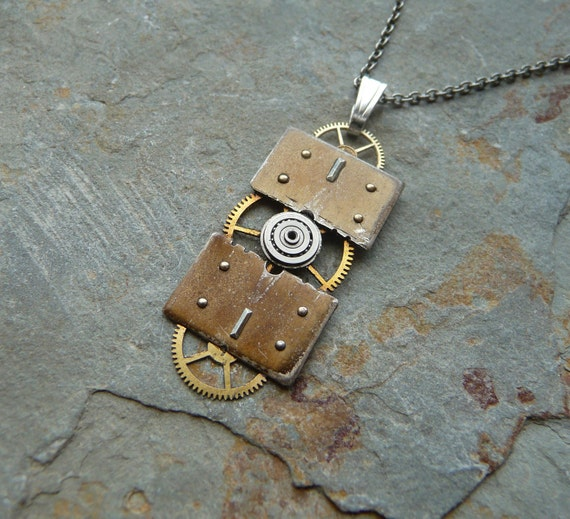 "Steampunk Pendant ""Long Division"" Reconstructed Watch Parts Necklace Recycled Upcycled Gear Art Steampunk by A Mechanical Mind"