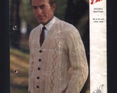 """vintage 1960s Emu knitting pattern, V neck cardigan, buttons, cable knit, moss stitch, ribbing, Mr Darcy, free shipping, 36-44"""" chest"""