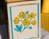 Sale - Vintage Wall Mount Metal Match Holder - Yellow Floral