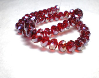 Metallic Red Chinese Crystal  Beads - Sparkling and Fun Red Beads - Beautiful Red Metallic Beads