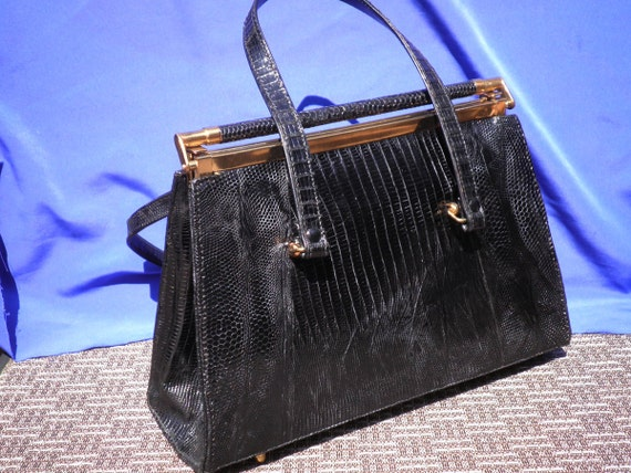 Chic Vintage Fifties Black Leather Purse Pocketbook