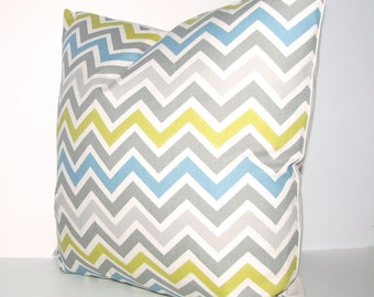 CHEVRON pillow cover -  blue gray chartreuse zigzag print - 16x16, 18x18, 12x16