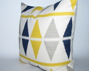 BLUE and YELLOW pillow cover - ikat chevron print - 16x16