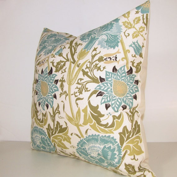 BLUE teal turquoise decorative pillow cover by StillLifeHome
