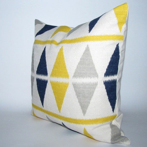 RESERVED LISTING - blue and yellow pillow cover - ikat chevron print - self-backed - 20X20