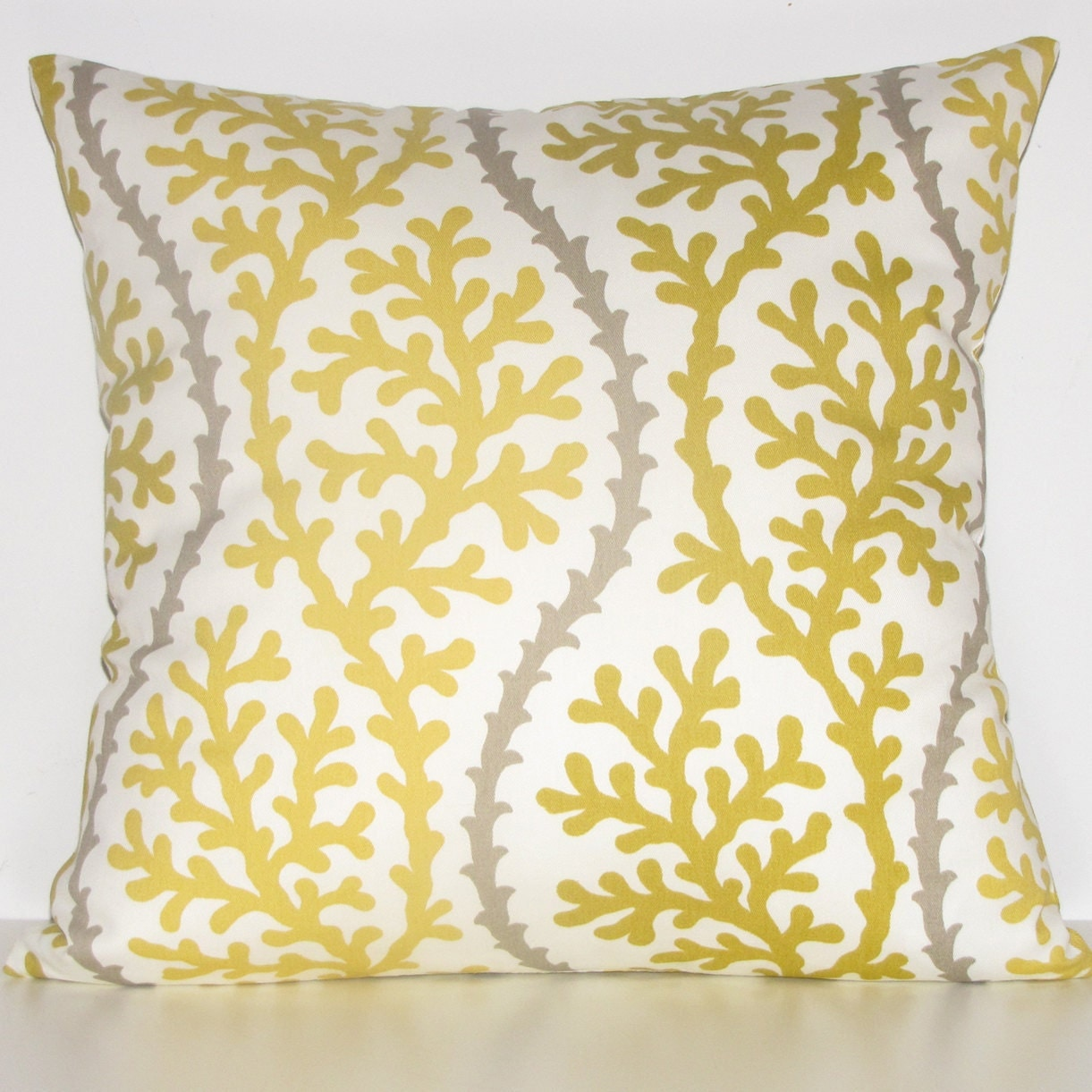 YELLOW coral pillows 16sq FREE SHIPPING