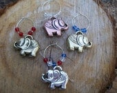 USA Republican elephant wine glass charms red white blue