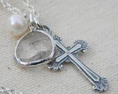 Clear Glass Cross and Pearl Charm Necklace Sterling Silver