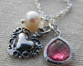 Heart Pearl and Teardrop Glass Charm Necklace Sterling Silver