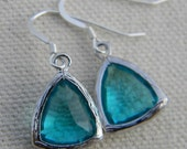 Sapphire Blue and Sterling Silver Earrings-Dangle Earrings-Drop Earrings-Sapphire Earrings-Something Blue