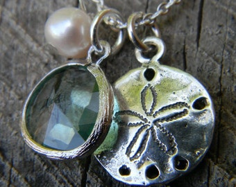 Sand Dollar and Sea Glass Charm Necklace Sterling -Nautical Charm Necklace- Sea Glass Necklace-Beach Wedding-Wedding Jewelry-Bridesmaid Gift