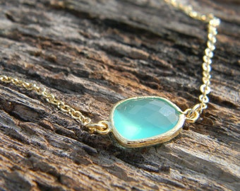 Asymmetrical Aqua Green Necklace / Gold Necklace/ Layering Necklace