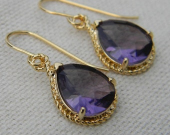 Amethyst Purple and Gold Dangle Earrings-Bridesmaid Gift-Wedding Jewelry