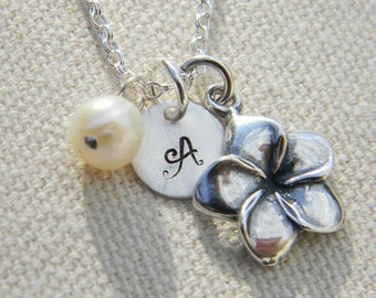 Personalized Necklace / Monogrammed Necklace  /  Initial  Necklace / Flower Girl Charm Necklace / Sterling Silver Necklace / Bridesmaid Gift