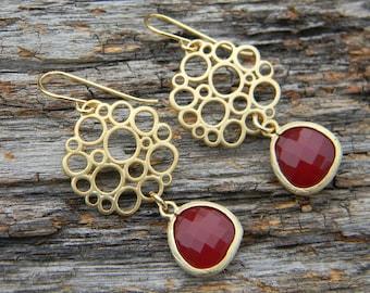 Red and Gold Bubble Dangle Earrings, Drop Earrings, Accessories Women