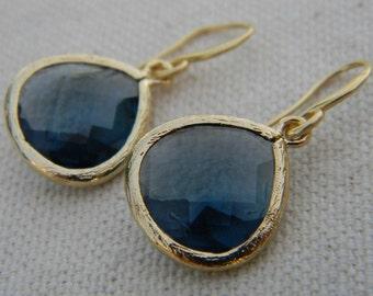 Navy Earrings / Sapphire Blue Dangle Earrings Trimmed in Gold / Bridesmaid Earrings / Gift For Her / Black Friday Etsy /September Birthstone
