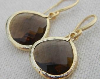 Brown Earrings, Mocha Brown Dangle Earrings , Gold Earrings , Drop Earrings, Bridal Earrings, Accessories Women