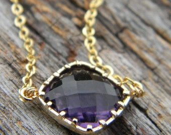 Amethyst Necklace Framed in Gold Bridal Jewelry