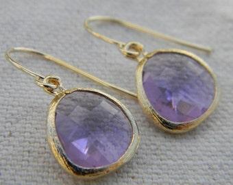 Light Purple Dangle Earrings Framed in Gold