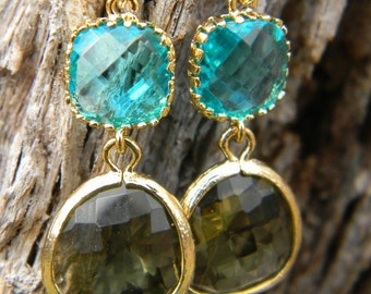Turquoise and Olive Earrings in Gold, Dangle Earrings, Bridesmaid Earrings, Drop Earrings, Turquosie Earrings,Accessories Women
