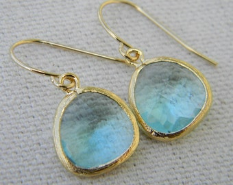 Aquamarine  Earrings Trimmed in Gold, Bridesmaid Gift, Dangle Earrings, Bridesmaid Earrings, Wedding Jewelry. March Birthstone Jewelry