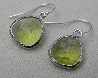 Green Peridot Dangle Earrings Sterling Silver Bride, Bridal, Wedding, Bridesmaid Gift, Drop Earrings