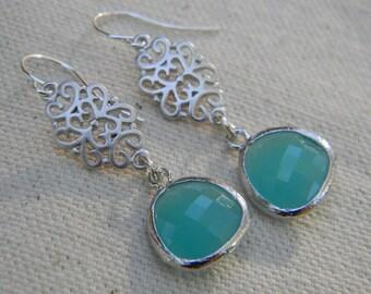 Aqua Blue Dangle Earrings in Sterling Silver, Bride, Bridal, Wedding, Dangle Drop Earrings
