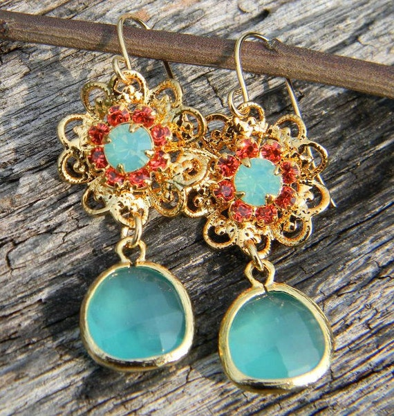 Pacific Opal and Padparadscha Swarovski Crystal Earrings FREE Shipping SALE