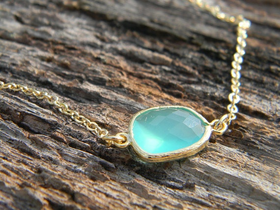 Aqua Necklace, Pendant Necklace, Layering Necklace, Bridesmaid Gift, Gift For Her, Asymmetrical Necklace, Mint Necklace, Bridesmaid Gift