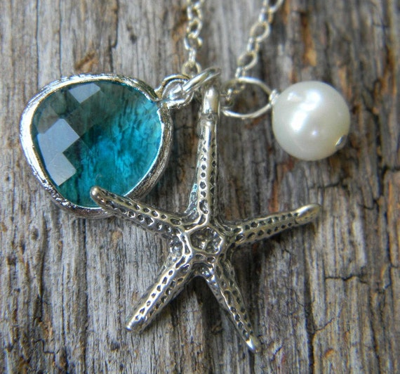 Sea Glass Green and Starfish Charm Necklace  Sterling Silver Bridal-Wedding Jewelry