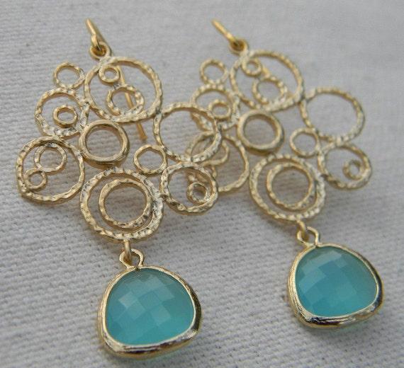 Aqua Blue Bubble Dangle Earrings in Gold, Drop Earrings, Filigree Earrings, Wedding Earrings, Bridal Jewelry