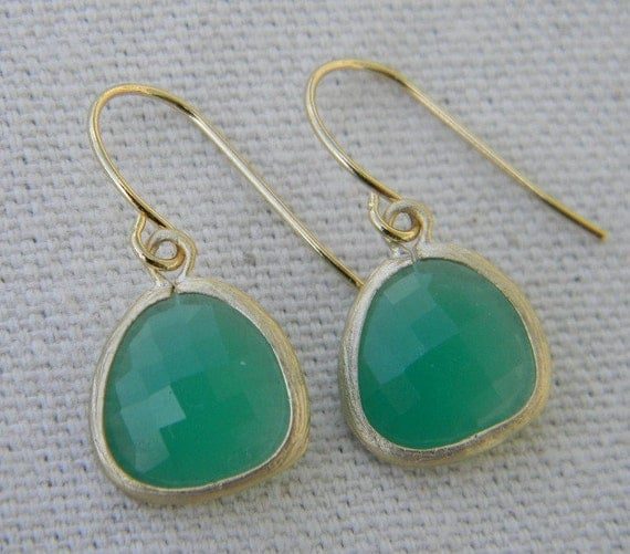 Spring Green Dangle Earrings, Palace Green Opal Gold Trimmed Earrings, Bridesmaids Jewelry
