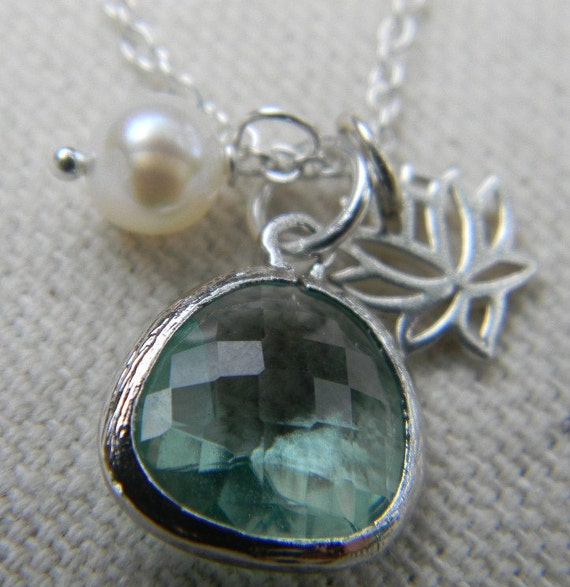 Lotus Flower and Green Amethyst Charm Necklace Sterling Silver, Bride, Bridal
