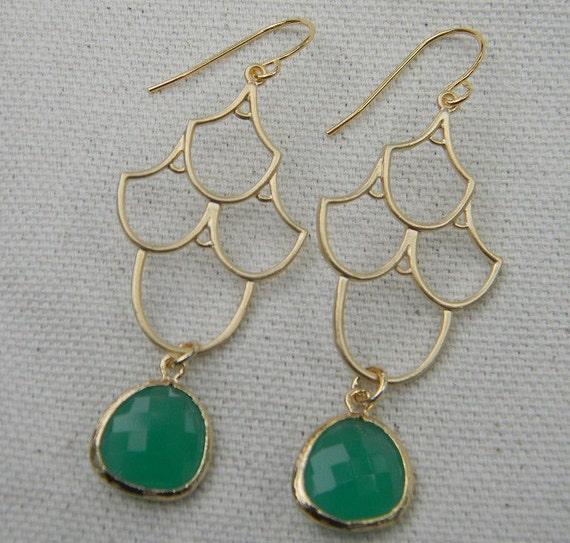 Palace Green Opal Chandelier Earrings in Gold, Bride, Bridal, Dangle Earrings, Drop Earrings