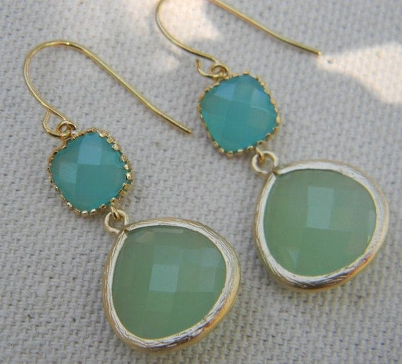 Aqua Blue and Mint Green Dangle Earrings Framed in Gold, Bride, Wedding, Bridesmaid Gift, Mint Wedding