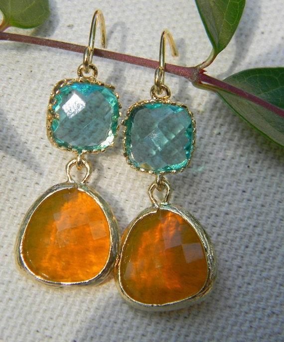 Sea Glass and  Orange  Earrings, Gold Earrings, Bridesmaid Earrings, Beach Wedding, Black Friday Etsy, Cyber Monday Etsy Sale, Etsy Jewelry
