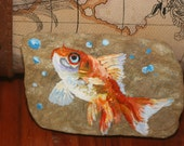Goldfish Acrylic Painting on Rock - Stone Painting Gold Fish - Bubbles - Original painting - Garden Art