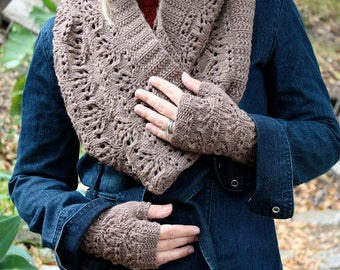 Set - Knitting Pattern PDFs - Chalice Cowl and Fingerless Gloves Set