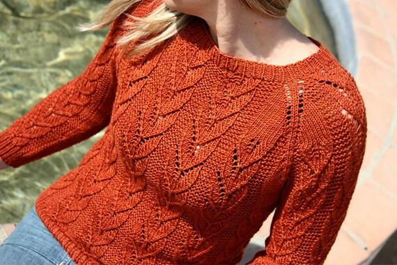 Knitting Pattern PDF - Corazon Lace Pullover Sweater
