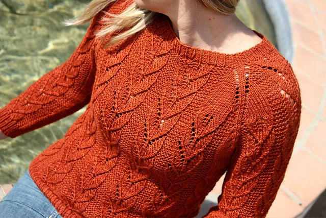 Knitting Pattern PDF Corazon Lace Pullover Sweater