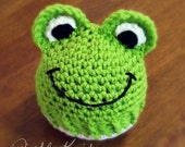 Frog Beanie-- Newborn to 12M-- (Contact me for details about larger sizes)