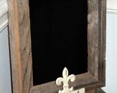 Barnwood Framed Chalkboard with Fluer de Lis Hooks