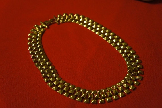Vintage Monet Runway Gold Tone Necklace