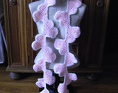 Pink Hearts Crocheted Scarf