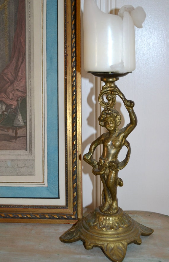Antique European Bronze Cherub Candlestick