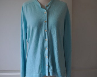 60s blue green Talbott cardigan