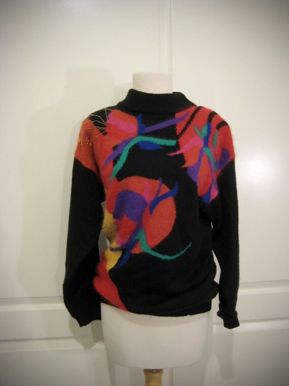 80s 90s black floral beaded Eugenia sweater